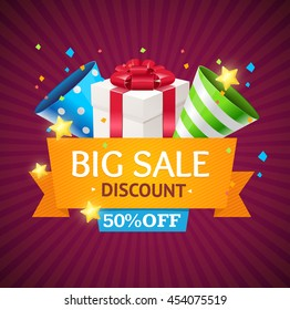 Sale Card with Gift Box. Seasonal Discounts. Vector illustration