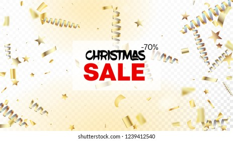 sale christmas confetti isolated invitation layout horizontal magic stardust background cool platinum christmas