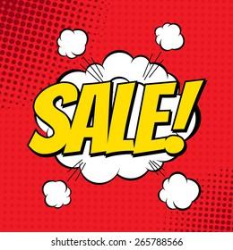 Sale comic book banner. Explosion cloud. Vector illustration