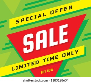 Sale concept banner vector illustration. Special offer abstract geometric layout. Limited time only. Buy now. graphic design poster.