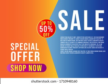 Sale concept banner vector illustration. Special offer. Limited time only. shop now. graphic design poster.