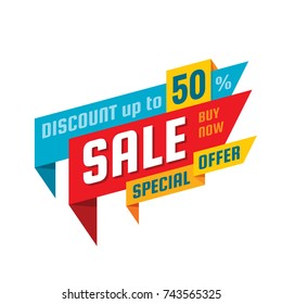 Sale - concept banner vector illustration. Dicount up to 50%. Special offer creative layout. Graphic design element.