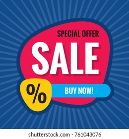 Sale - concept banner vector illustration. Abstract creative layout. Special offer discount. Graphic design element.
