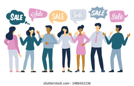 Sale concept for graphics design, marketing and product promotion with people characters. Vector illustration