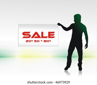 sale concept with showing a young man sale discount, vector illustration, No mesh in this Vector