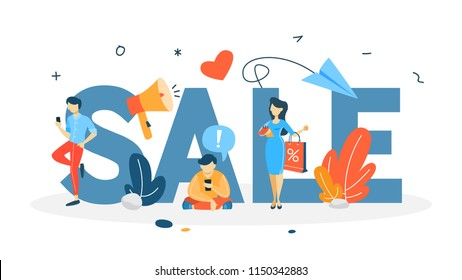Sale concept. Special offer and big discount. Best price. Idea of business promotion. Christmas or blackfriday sale. Isolated flat vector illustration