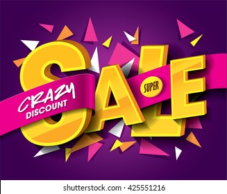 Sale concept vector banner with abstract triangle elements.