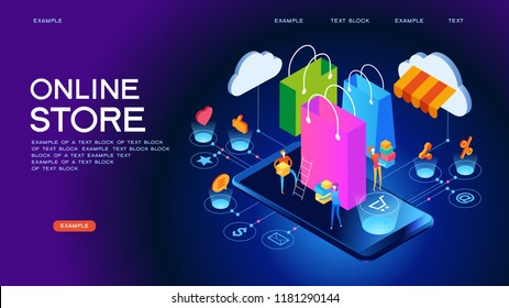 The sale and consumer concept. A person buys an online store using a smartphone. Landing page template. 3d vector isometric illustration.