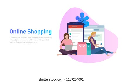 Sale, consumerism and people concept. Young woman shop online using smartphone and laptop. Vector illustration. with shopping bag.