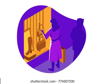 Sale, consumerism and people concept. Young woman with shopping bags pointing finger to shop window. Vector illustration.
