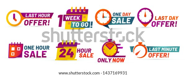 Sale countdown badges. Last minute offer banner, one day sales and 24 hour sale promo stickers. business limited special promotions, best deal badge. Isolated vector icons set