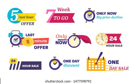 Sale countdown days left badge. One, five minute last down count offer banner, one day discount and sale stickers. Logos, signs, stickers, deal badge template for advertising, promotion, shop market.