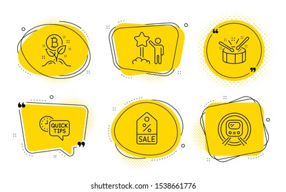Sale coupon, Drums and Metro subway signs. Chat bubbles. Bitcoin project, Quick tips and Star line icons set. Cryptocurrency startup, Helpful tricks, Launch rating. Discount tag. Business set. Vector