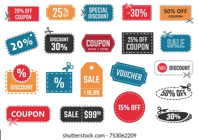sale coupons, discount banners and labels set