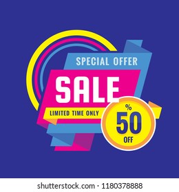 Sale - creative banner vector illustration. Abstract concept discount up to 50% promotion layout on blue background. Special offer sticker in origami style. Limited time only. Design elements.