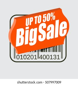 """Sale design or commercial, 3D price tag with text: """"Up to 50%, Big Sale"""""""