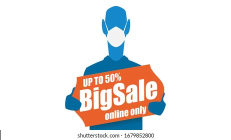 Sale design, coronavirus outside, online shopping, stay home, man with mask and big price tag