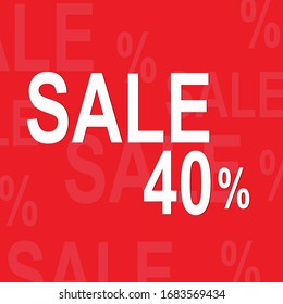 Sale discount 40%. Banner offer price discount. Special offer label. Vector