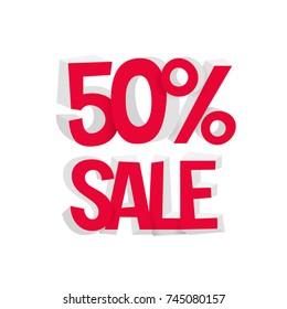 Sale discount 50% - convex 3d inscription. Vector illustration.