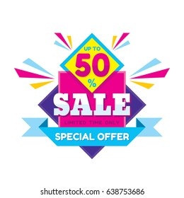 Sale discount up to 50% - vector concept illustration in flat style. Special offer origami creative badge on white background. Advertising promotion banner. Abstract graphic design element.