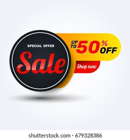 Sale discount banner design.Layout for online shopping, product, promotions, website and brochure.Special offer 50% off. Vector template background.