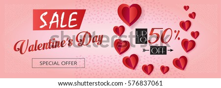 Sale Discount Banner Valentines Day Weekend Stock Vector Royalty