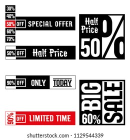 Sale and discount banners and labels. limited time, Big sale,special offer  discount signs.