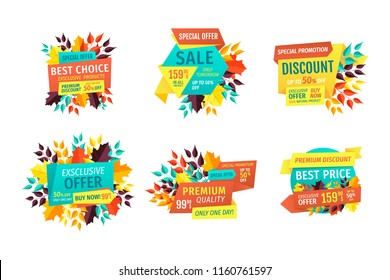 Sale and discount, best choice for autumn logos. Seasonal price reduction with special offer. Fall leaves or branches emblems vector illustrations.