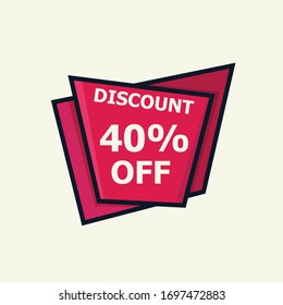 Sale discount icon. Special offer price signs, Discount 40% OFF