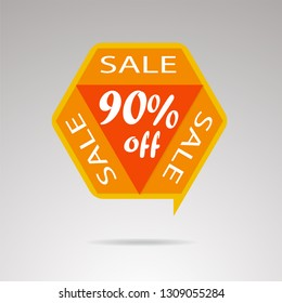 Sale discount icons. Discount offer price label, symbol for advertising campaign in retail, sale promo marketing,  90%. Special offer price signs. Vector image.
