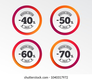 Sale discount icons. Special offer stamp price signs. 40, 50, 60 and 70 percent off reduction symbols. Infographic design buttons. Circle templates. Vector