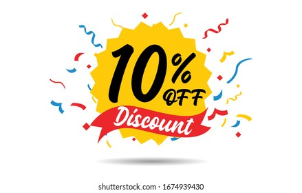 Sale discount icons. Special offer price signs. 10 percent off reduction symbols. ribbons or badge symbols. Colored elements. Vector