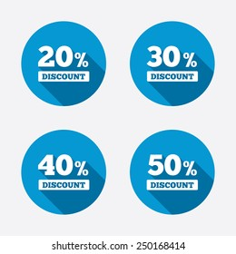 Sale discount icons. Special offer price signs. 20, 30, 40 and 50 percent off reduction symbols. Circle concept web buttons. Vector