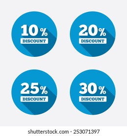 Sale discount icons. Special offer price signs. 10, 20, 25 and 30 percent off reduction symbols. Circle concept web buttons. Vector