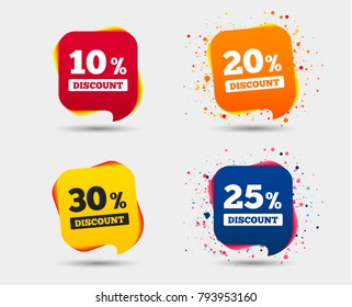 Sale discount icons. Special offer price signs. 10, 20, 25 and 30 percent off reduction symbols. Speech bubbles or chat symbols. Colored elements. Vector