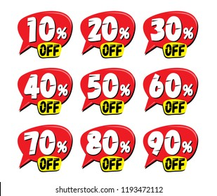 Sale and discount labels. Price off tag icon. 10, 20, 30, 40, 50, 60, 70, 80, 90 percent sale. Vector illustration.