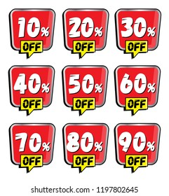 Sale and discount labels. Price off tag icon. 10, 20, 30, 40, 50, 60, 70, 80, 90 percent sale. Vector tags