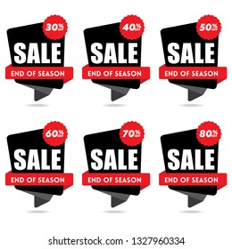 Sale and discount labels. Price off tag icon. 10, 20, 30, 40, 50, 60, 70, 80, 90 percent sale. End of season - Vector