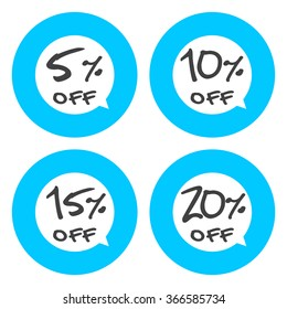 Sale, discount labels. Special offer price signs. 5, 10, 15 and 20 percent off reduction symbols.