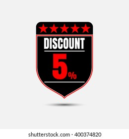 Sale, discount labels. Special offer price signs. 5 percent off reduction symbol.