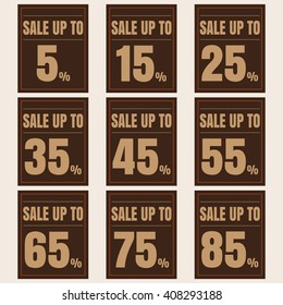 Sale, discount labels. Special offer price signs. 5, 15, 25, 35, 45, 55, 65, 75 and 85 percent off reduction symbols.