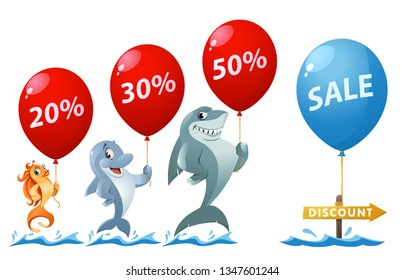 Sale and discount percentages. Funny goldfish, shark and dolphin holding balloons. Cartoon styled vector illustration. On white background. Elements is grouped. No transparent objects.