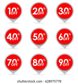 Sale and discount pointer or marker.  Price off tag icon. 10, 20, 30, 40, 50, 60, 70, 80, 90 percent sale. Vector illustration.