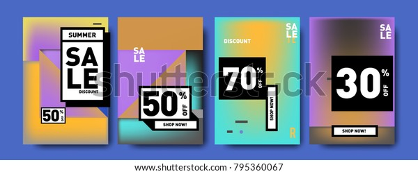 Sale and discount poster set. Colorful background for banner and advertising promotion.