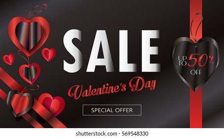 Sale discount poster for Valentines Day Holiday. Vector template. Romantic gift card with hearts, sale tag, festive background. Love, e-card, banner. luxury decoration, Origami Cut paper heart