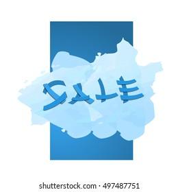 sale discount promo banner blue background vector illustration