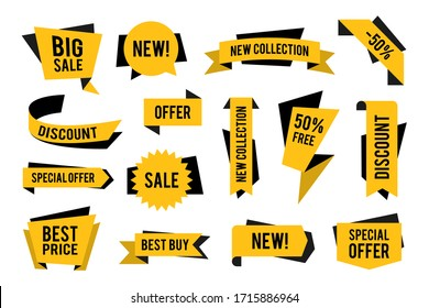 Sale and discount promotion tags set. Special offer and best price yellow ribbon and signs. Vector illustration for retail, commerce, marketing, advertising concept