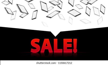 sale discount smartphones phone black on white background horisontal banner header , falling down random directions devises gadgets , vector illustration
