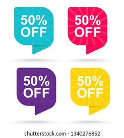 Sale discount sticker 50 . Promotional tags special offers.