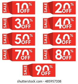 Sale and discount tag set. Price off tag design template. 10,20,30,40,50,60,70,80,90 percent sale. Vector illustration.
